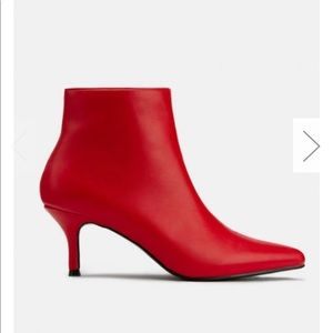 Red leather booties Miss Lola